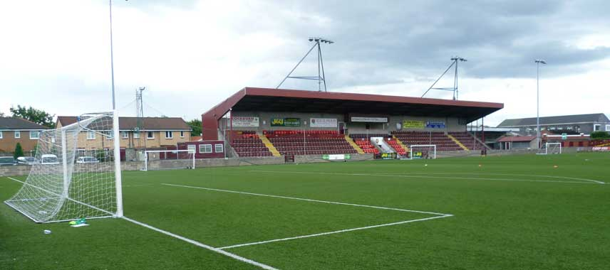 Main stand of Ochilview Park stadium