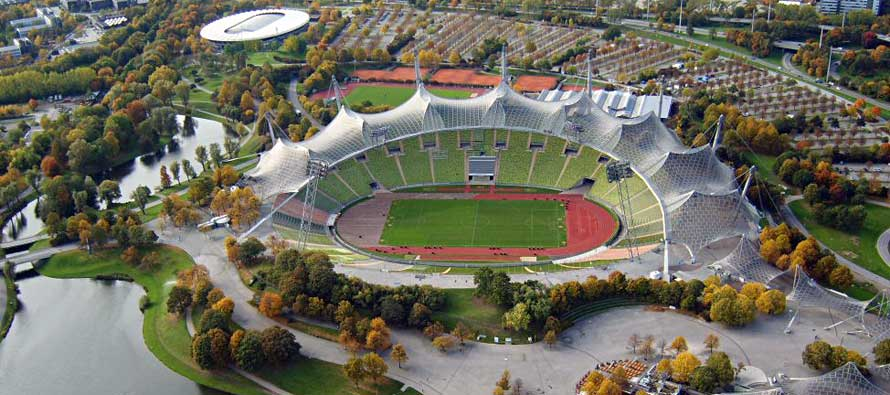 Aerial view of Munich's Olympic Stadium