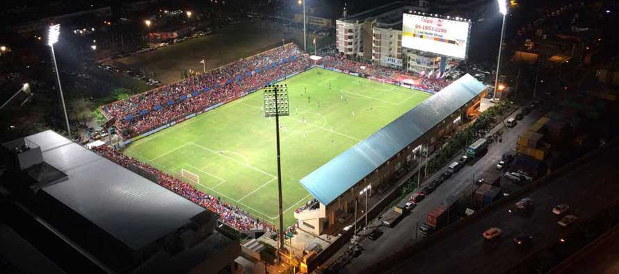 Aerial view of PAT Stadium at night