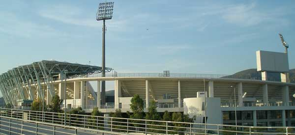 Outside Panthessaliko Stadium floodlights