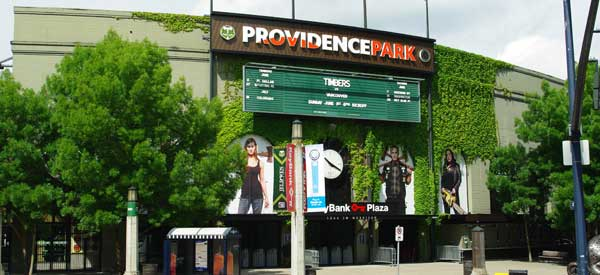 The main entrance of The Timbers' stadium complete with Providence Park sign.