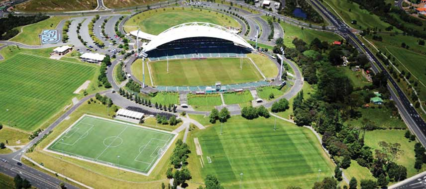 Aerial view of North Harbour Stadium