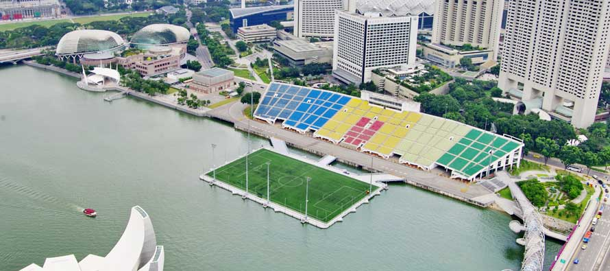 Aerial view of SG Marina Bay Float Stadium
