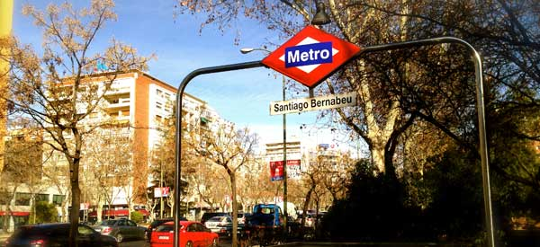 Santiago Bernabeu metro station sign