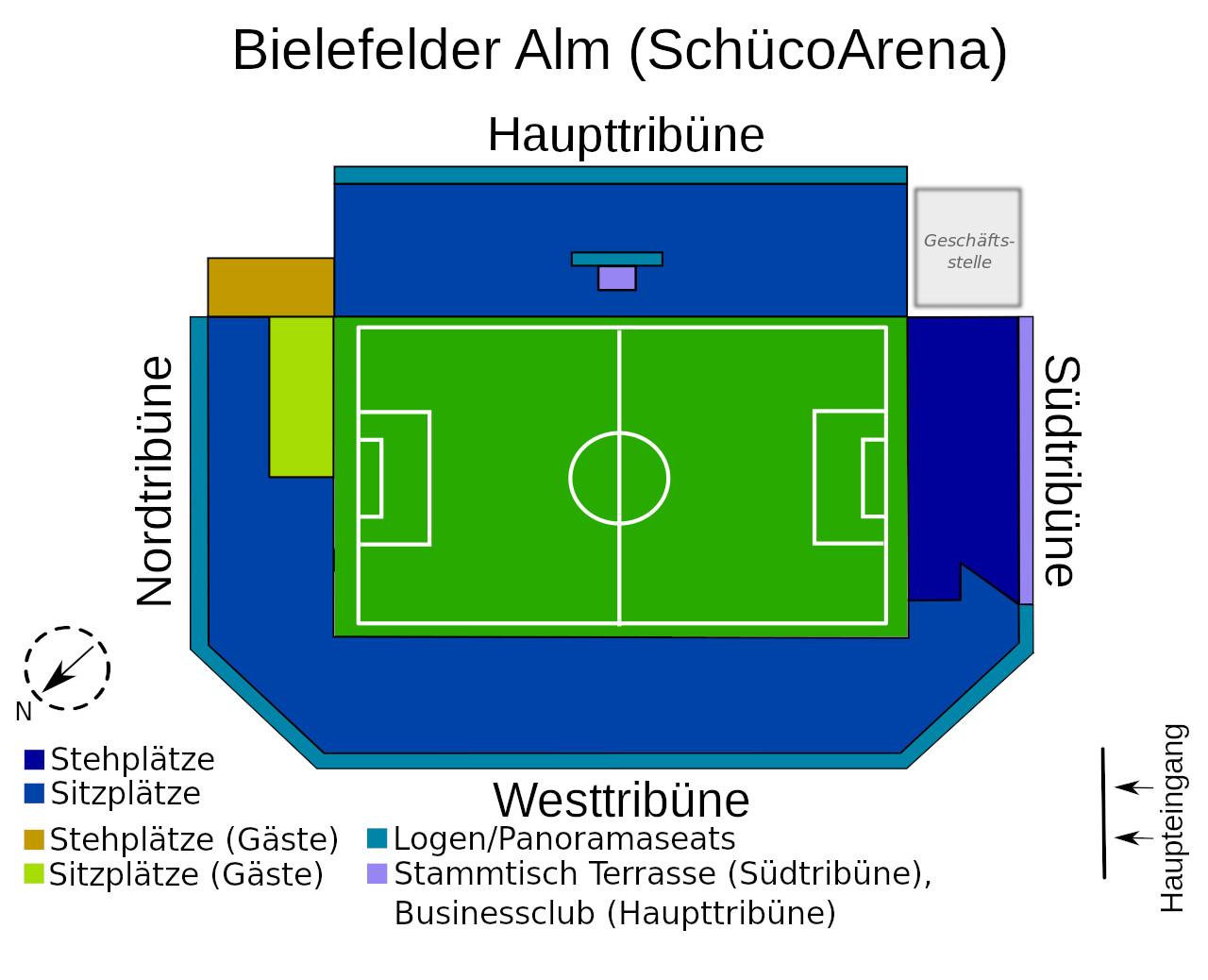 Schüco Arena (Bielefelder Alm) Seating Plan