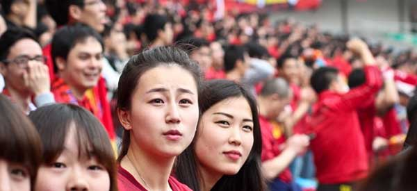 Shanghai Dongya supporters inside the stadium