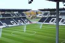 Skagerak Arena pitch being watered