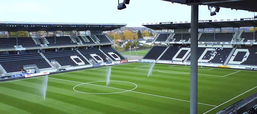 Skagerak Arena pitch being watered