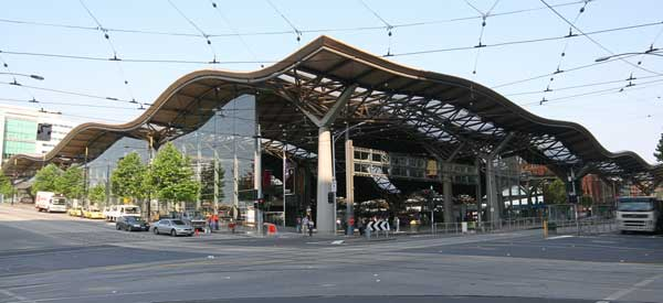 The stylish exterior of the newly built Southern Cross Station. The entirety of the Docklands area features unique modern architecture.