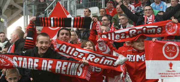 Stade de Reims supporters inside the stadium