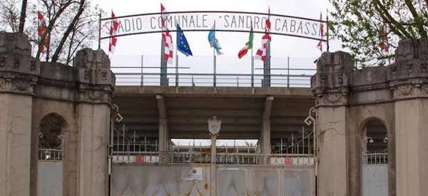 The gates of Stadio Communale Sandro Cabassi. Famously located on a road named after Karl Marx.