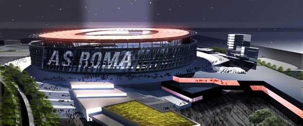 Night time view of Stadio Della Roma
