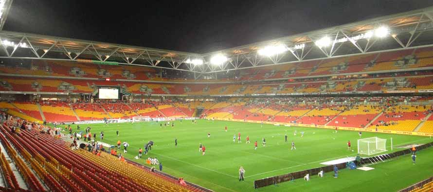 Inside Suncorp Stadium at night