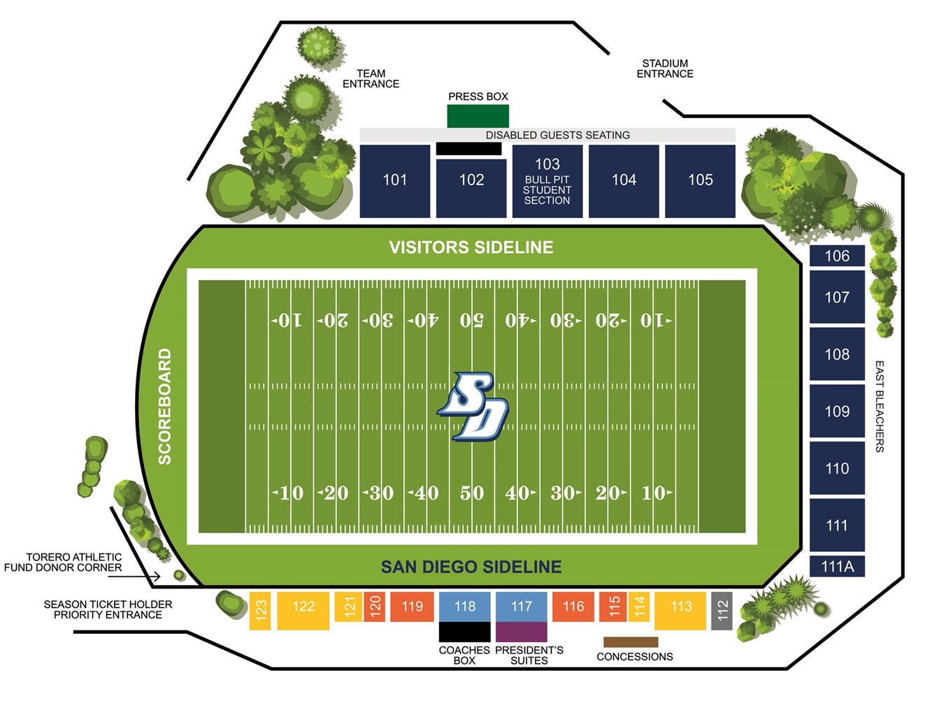 Torero Stadium Seating Plan
