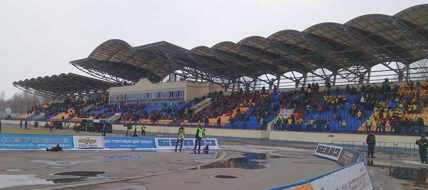 Main stand at Torpedo Stadium in Zhodino