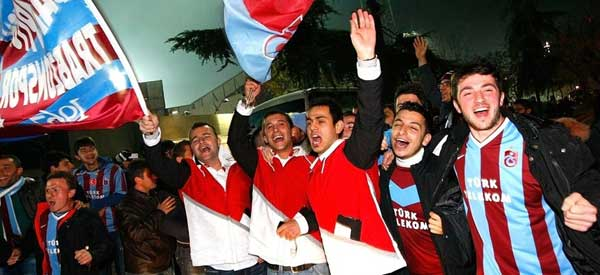 Trabzonspor supporters inside the stadium