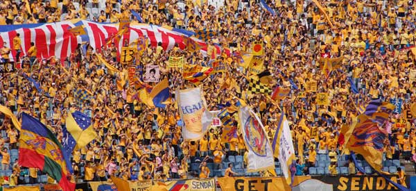 Vegalta Sendai supporters inside the stadium