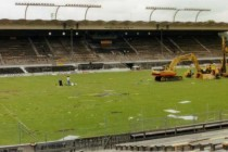 Diggers on the pitch of Wankdorf Stadium