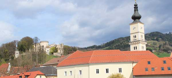 Wolfsberg Castle and mountains.