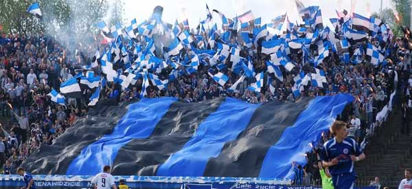 Zawisza Bydgoszcz supporters inside the stadium