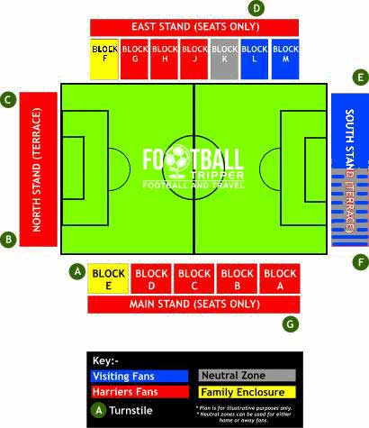 Seating plan for Aggborough Football ground
