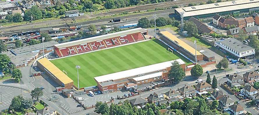 Aerial view of Aggborough Stadium
