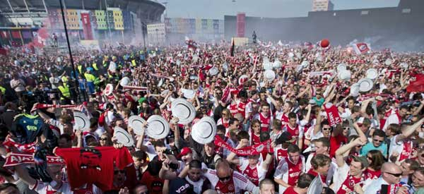 Ajax supporters outside the stadium