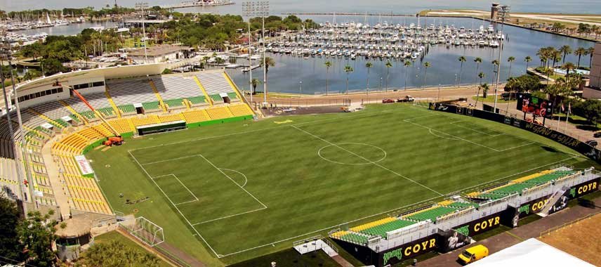 Aerial view of Al Lang Stadium, harbour view