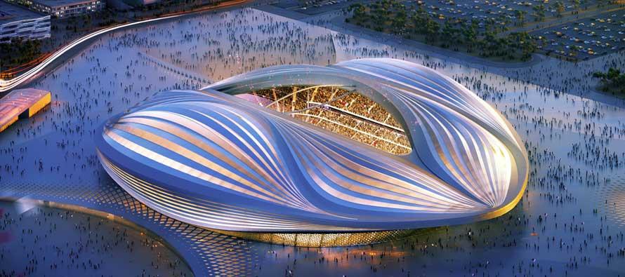Aerial render of Al Wakrah Vagina Stadium