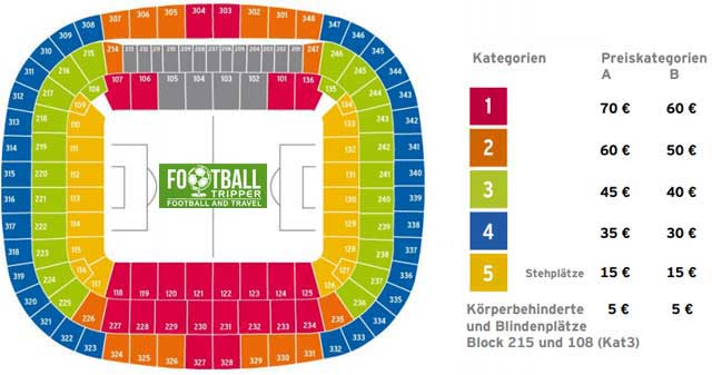 Allianz Arena seating plan for Bayern Munich