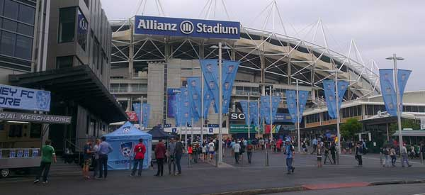 The main entrance to Allianz Stadium as seen on matchday by the amount of blue on display.