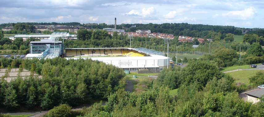 Aerial view of Almondvale Stadium through the trees