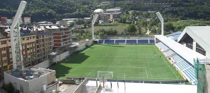 Inside Andorra's national stadium