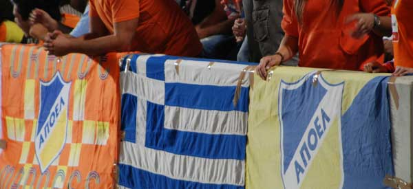 APOEL flags inside GSP Stadium