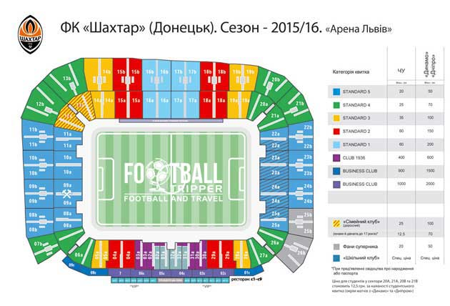 Seating plan for Shakhtar Donetsk at Arena Lviv