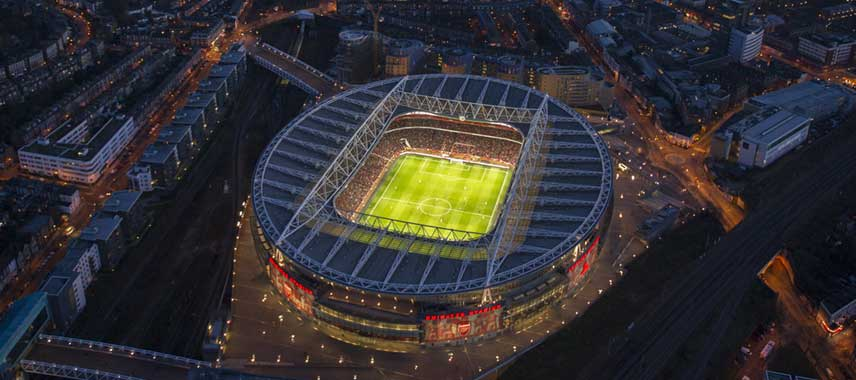 Aerial view of Emirates Stadium at night