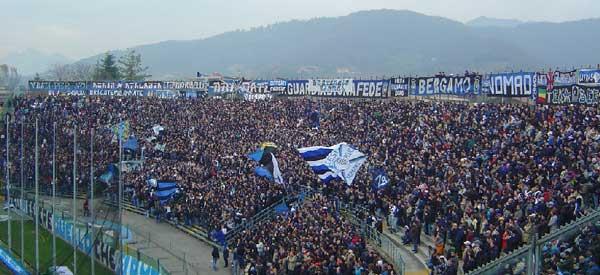Atalanta supporters inside the stadium