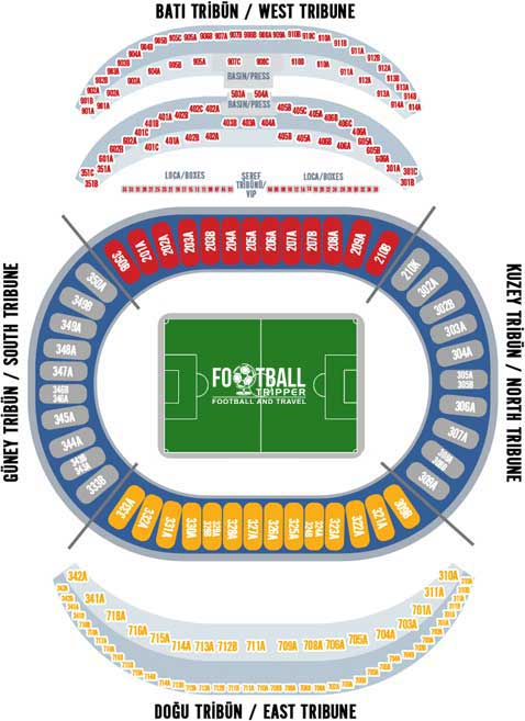 Istanbul's Olympic Stadium seating chart
