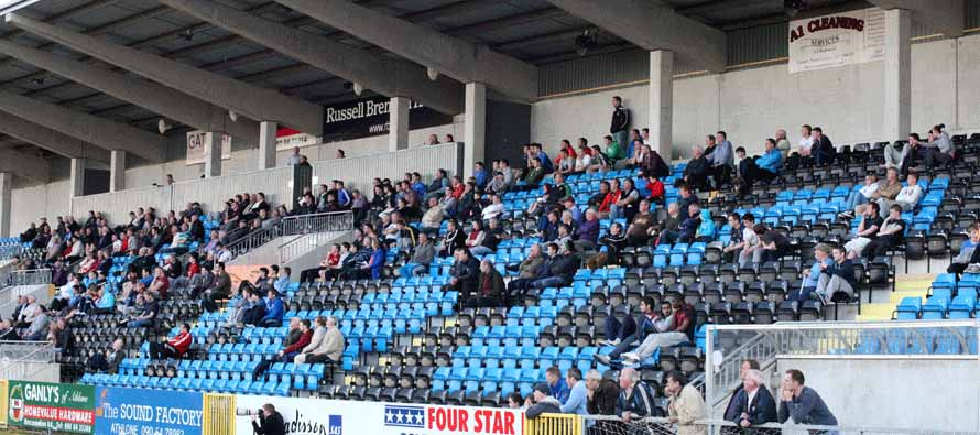 Fans inside Athlone Town Stadium