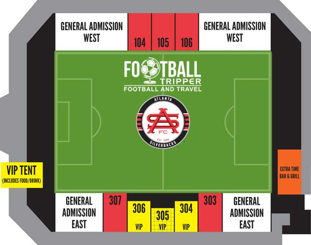 Seating chart for Atlanta Silverbacks stadium
