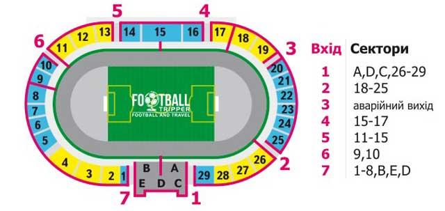 Avanhard Stadium Lutsk seating plan