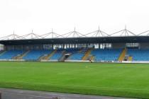 The main stand at Ballymena showgrounds stadium