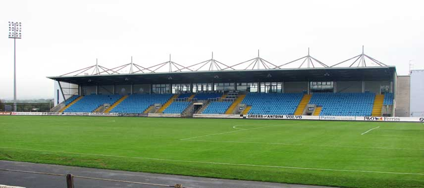 The main stand at Ballymena showgrounds stadium
