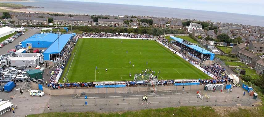Aerial view of Balmoor Stadium