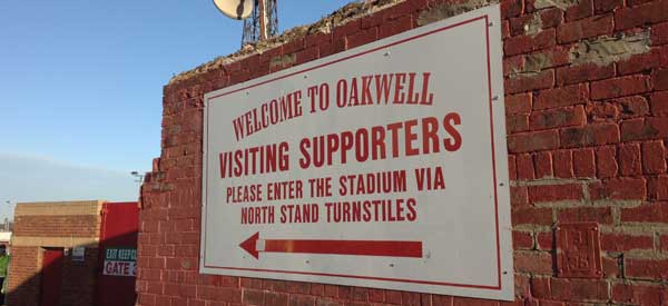 "Sign at the stadium saying ""Welcome to Oakwell"""