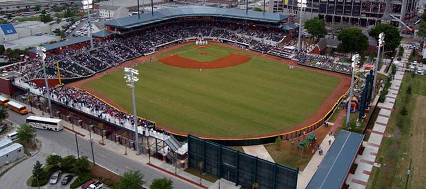 Aerial viewof Jacksonville Baseball grounds