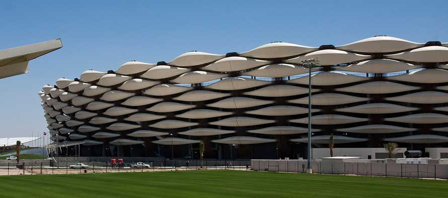 Exterior of Basra football stadium