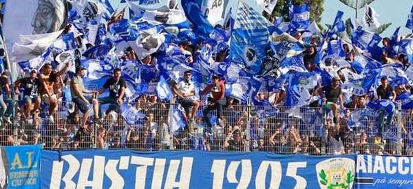 Bastia supporters inside the stadium