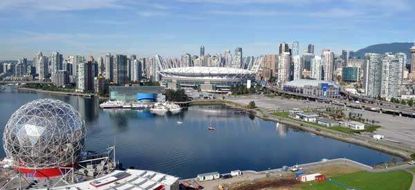 A look at where BC Place fits in within the overall landscape of Vancouver city central.