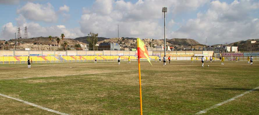 View of Behnam Mohammadi's pitch from the corner flag